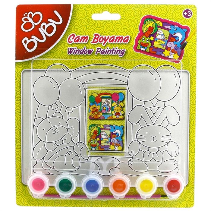 Bubu Cam Boyama Seti çerçeve şekilli Model 1 Loco Poco Oyuncak