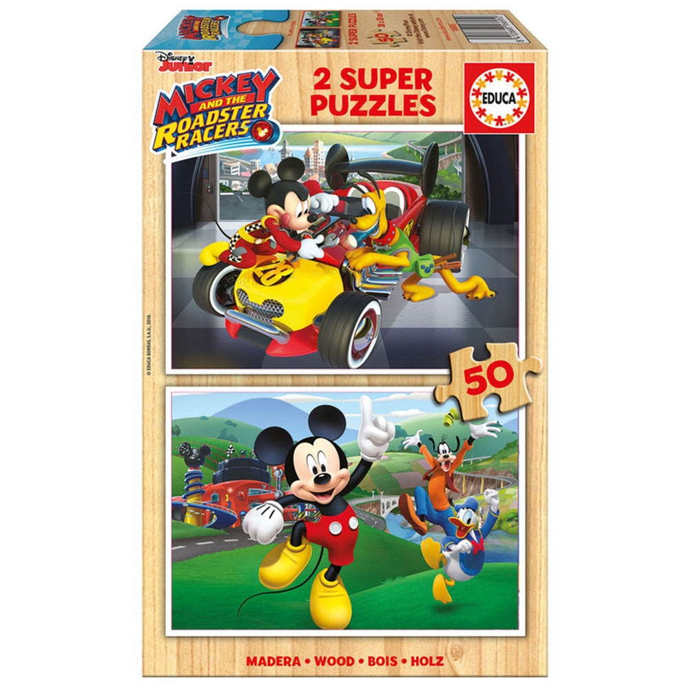 Educa Ahşap Çocuk Puzzle 2X50 Mickey and the Roadster Racers